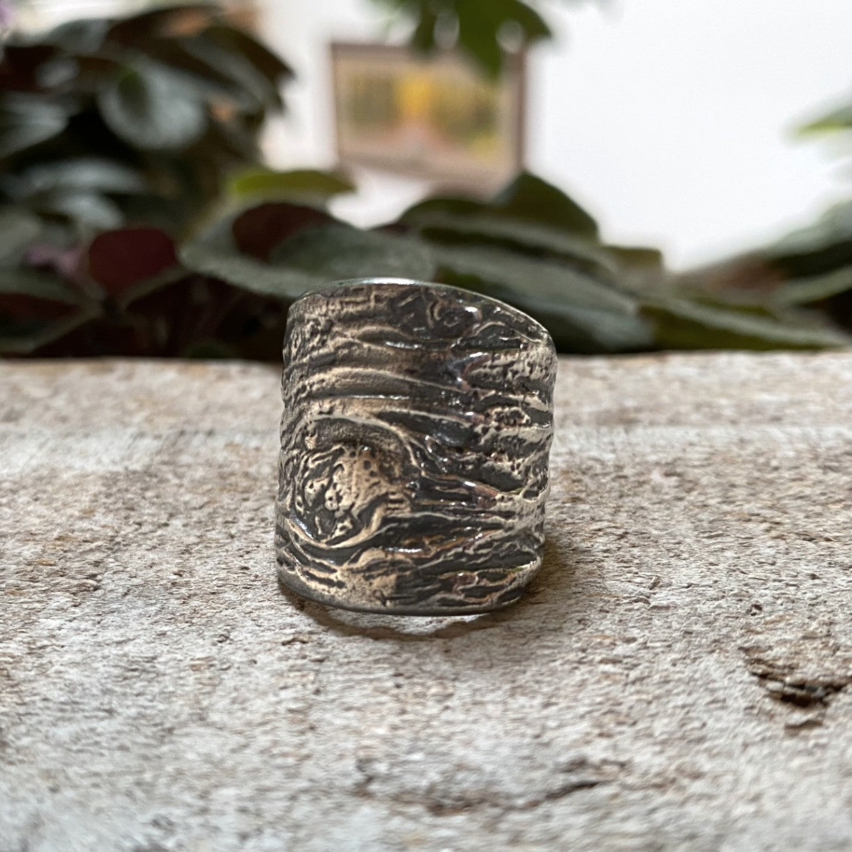 Close up of Driftwood texture cast in Sterling Silver in a beautiful chunky sterling silver ring
