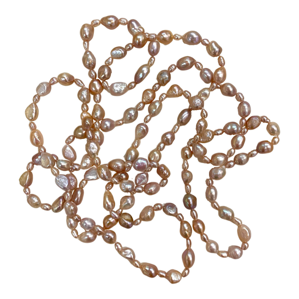 "PINK 60"" ALTERNATING BAROQUE NECKLACE"