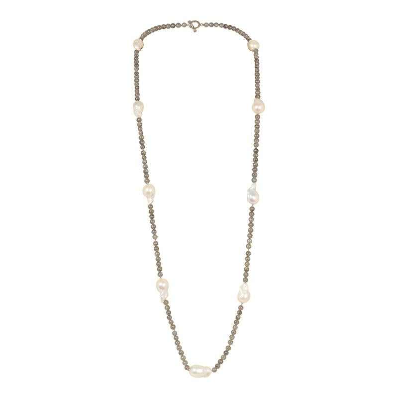 SMOKY QUARTZ & WILD PEARL NECKLACE 42""