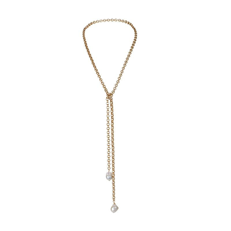 TURKISH GOLD LARIAT W/ 2 WILD PEARLS