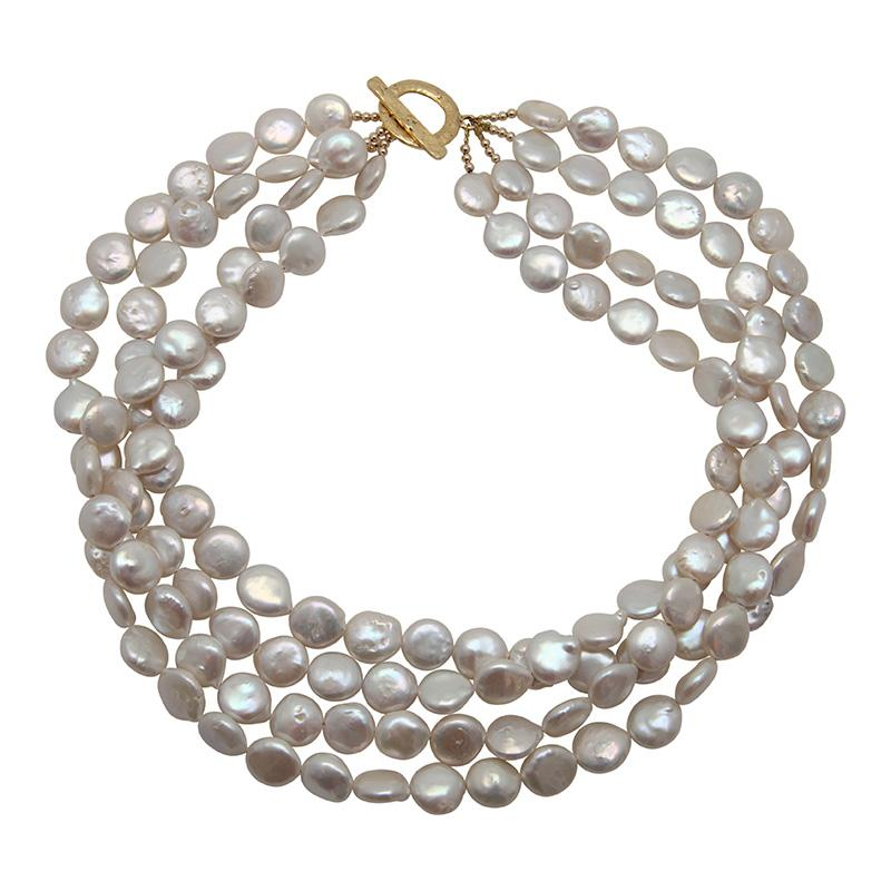 4-STRAND COIN PEARL NECKLACE