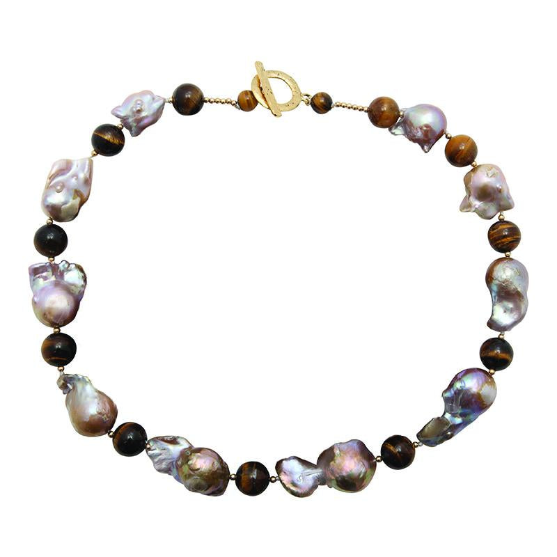 WILD PEARL & TIGER EYE NECKLACE