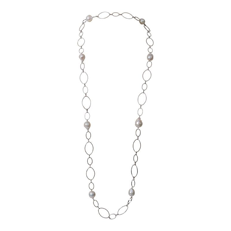 STERLING LOOP CHAIN & WILD PEARLS