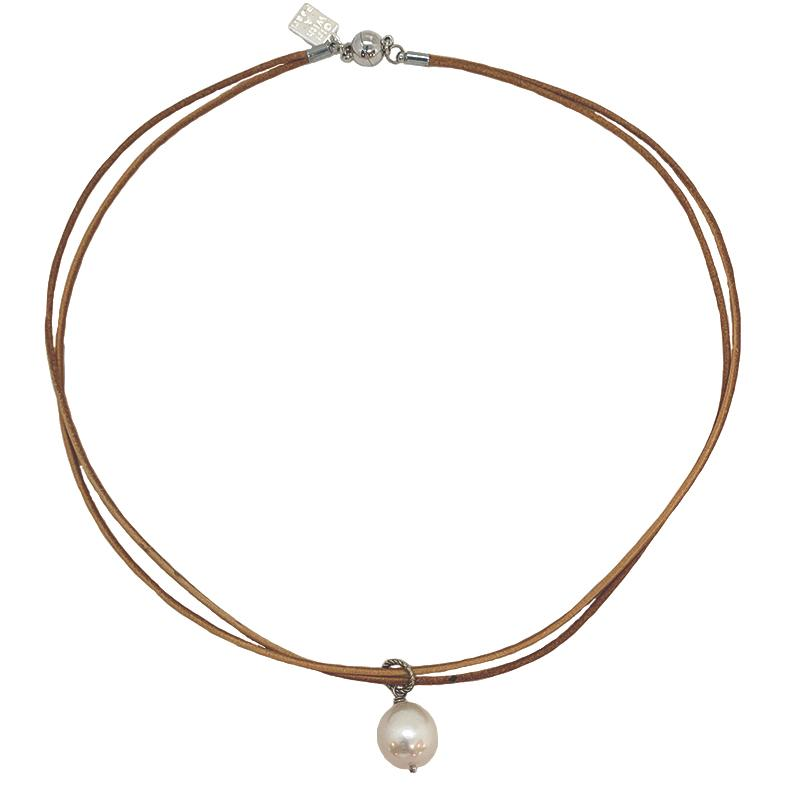 TAN LEATHER CHOKER W/ PEARL DROP