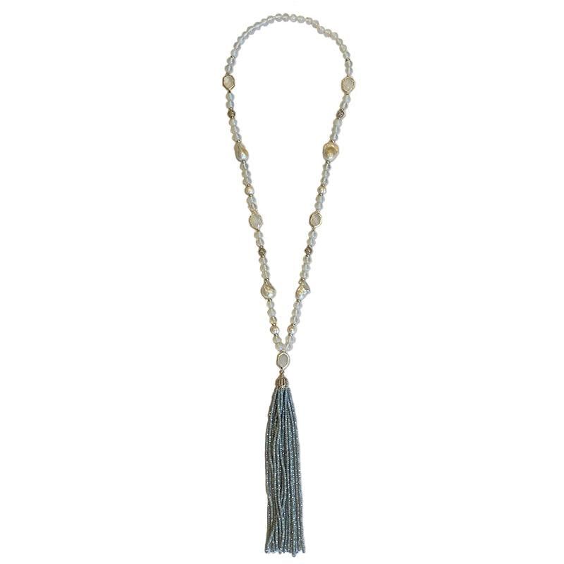 LITE BLUE CRYSTAL & PEARL TASSEL NECKLACE