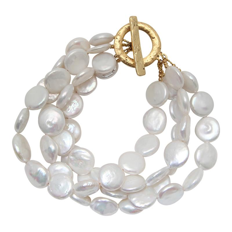 4-STRAND COIN BRACELET (WHITE ON GOLD)