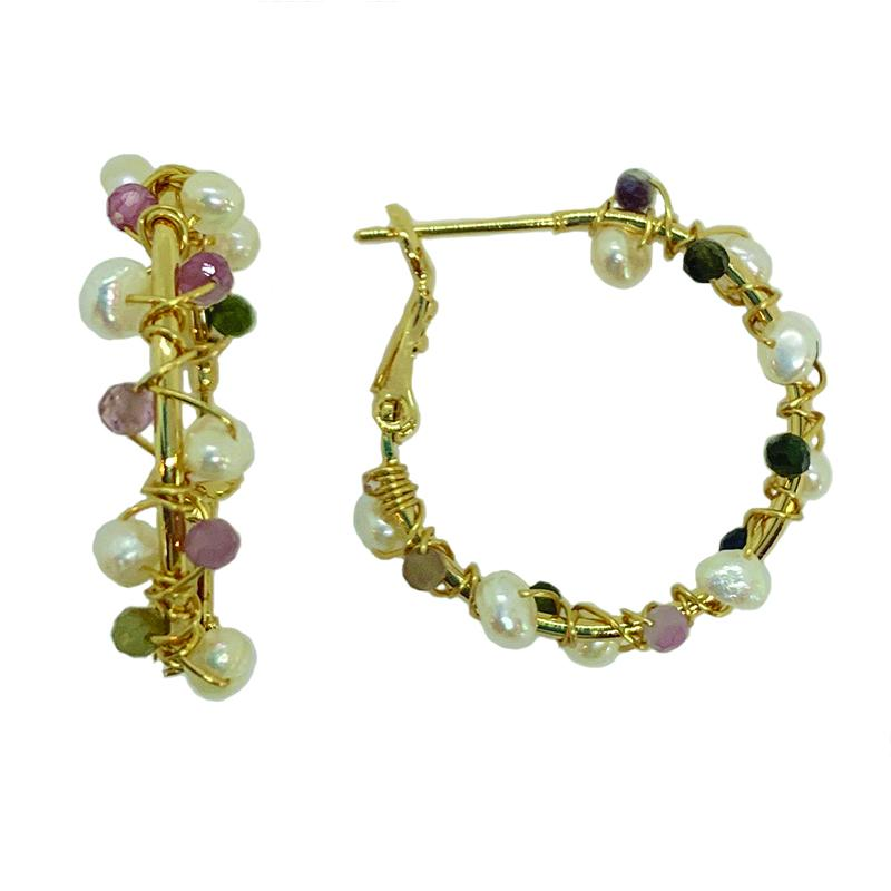 TOURMALINE & PEARL HOOPS ON GOLD