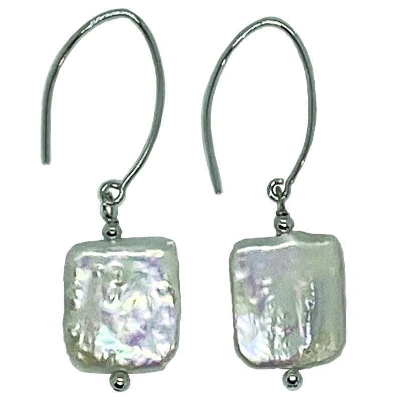 CHICLET EARRING (WHITE ON SILVER)