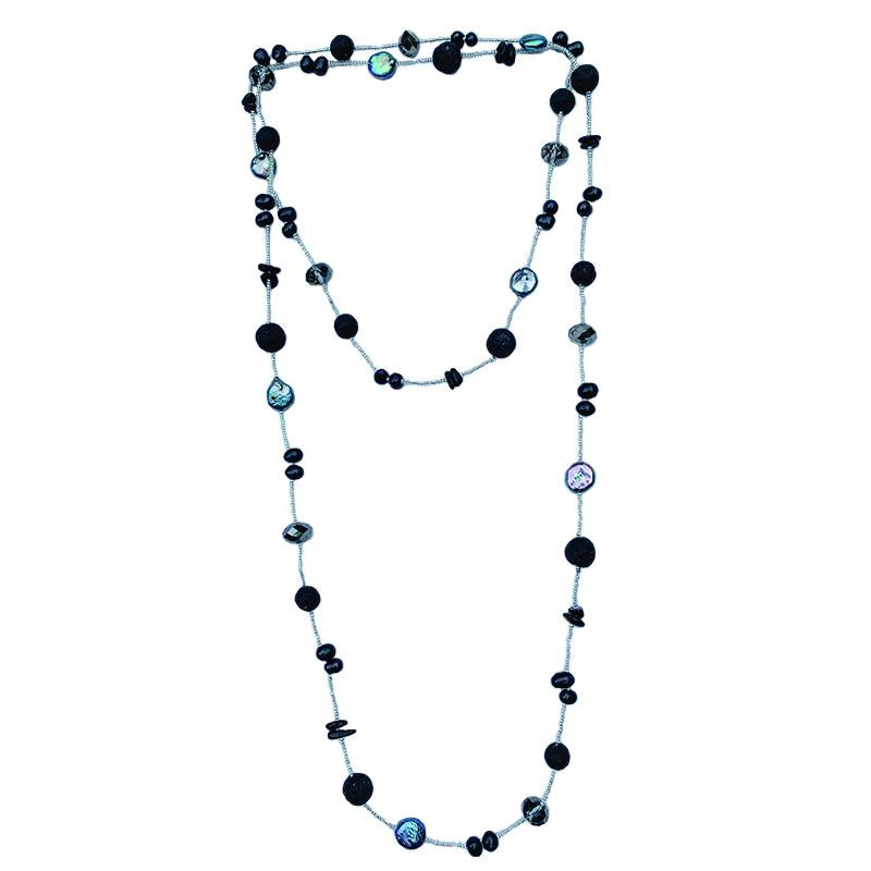 QUARTZ, PEARLS & BEADS (ONYX)
