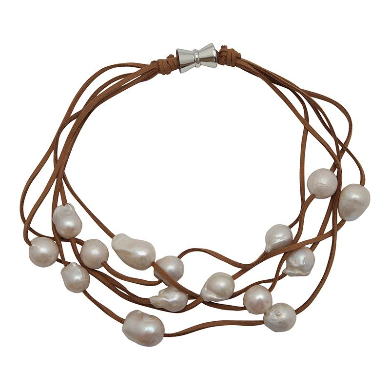 5-STRAND PEARLS ON SUEDE (WHITE ON TAN)