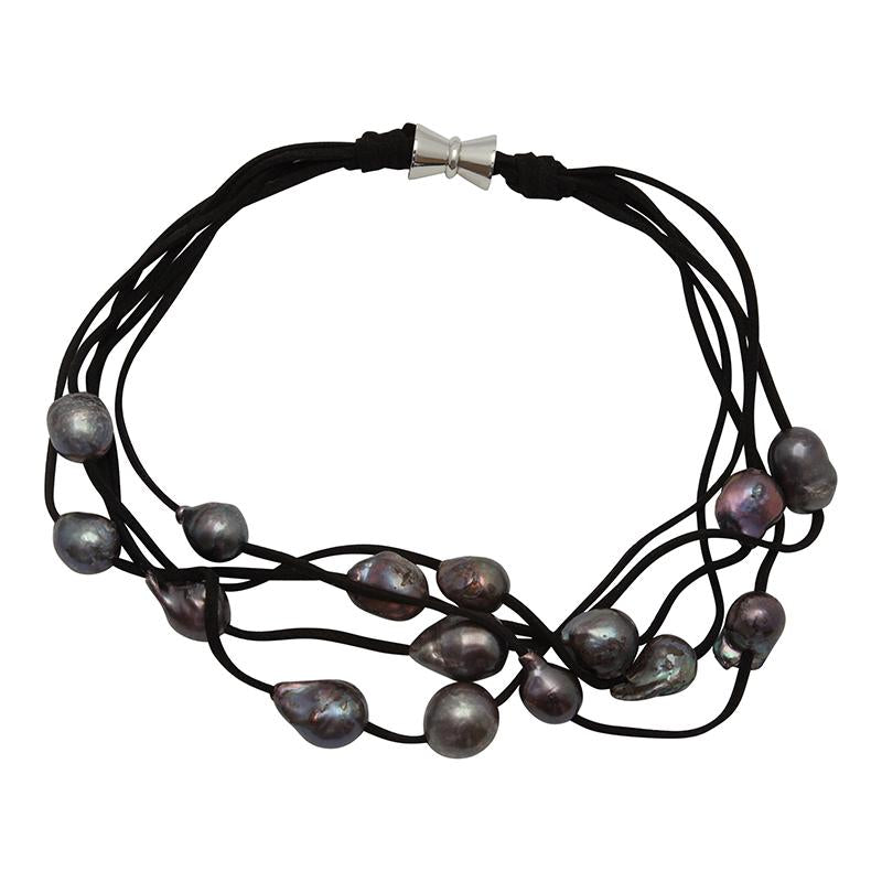 5-STRAND PEARLS ON SUEDE (BLACK ON BLACK)
