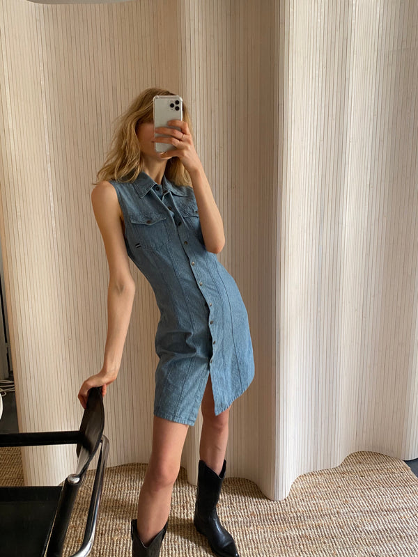 robe denim sans manches T.M