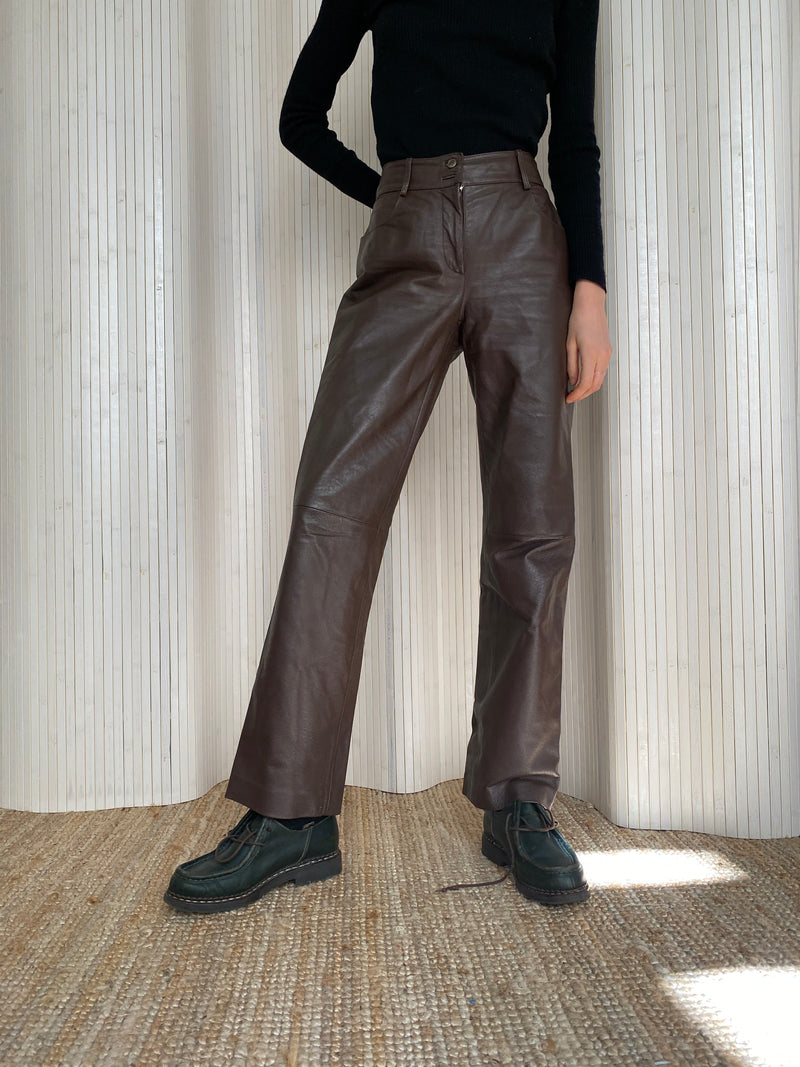 pantalon cuir marron droit T.36