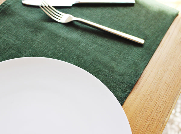 Forest Green Linen Placemat - Kain & Wares