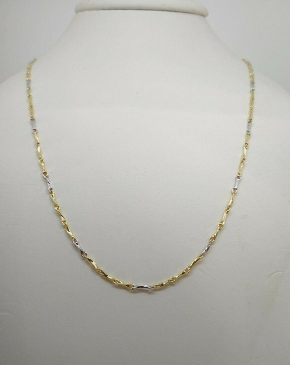 Collana oro18 kt catena tubo bicolore 50 cm 4,7 gr Solid 18k gold chain necklace 1