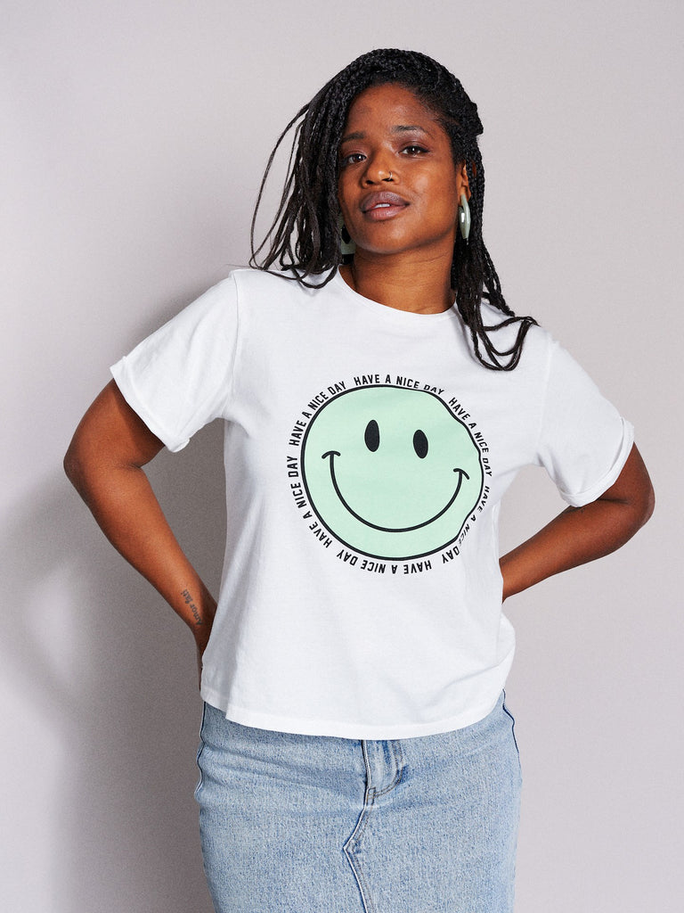 Catwalk Junkie Tee Happy Face Off White