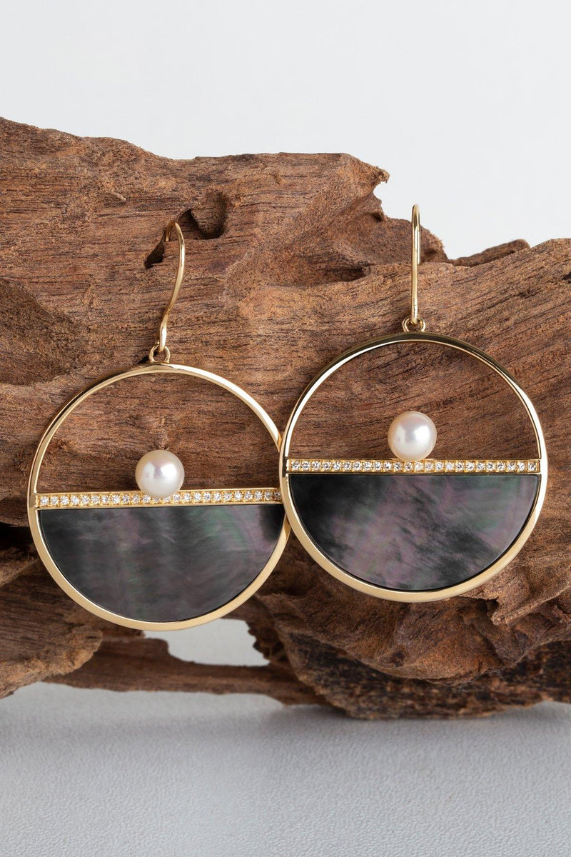 Matilda - NAiiA - 14K solid gold hoops with half round black mother of pearl, pave diamond and freshwater pearls on wood