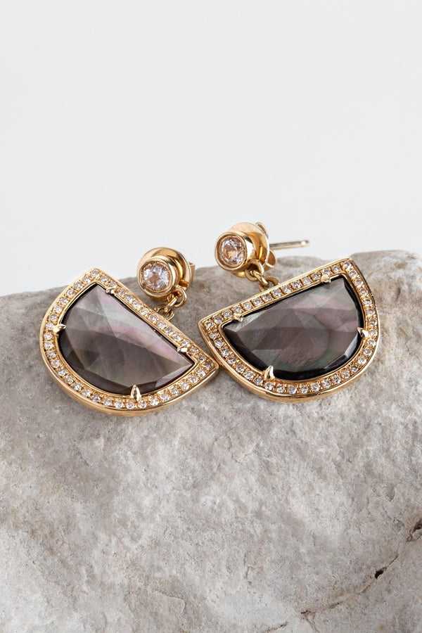 Moonridge - NAiiA - 14K solid gold topaz bezeled earrings with black mother of pearl and pave diamonds on rock