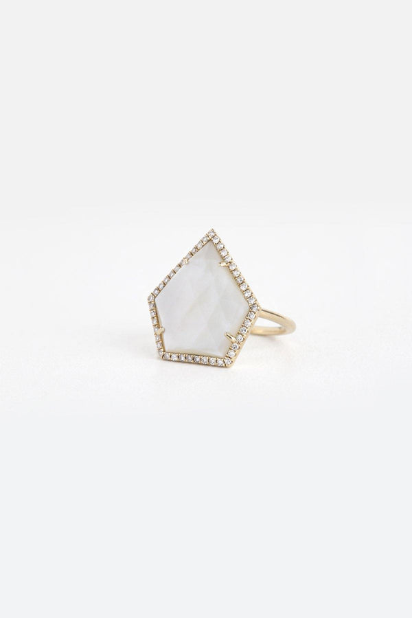 Shadow - NAiiA - 14K solid gold mother of pearl gold ring with pave diamonds