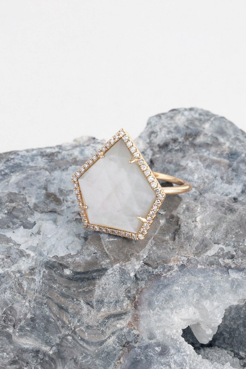 Shadow - NAiiA - 14K solid gold mother of pearl gold ring with pave diamonds on rock
