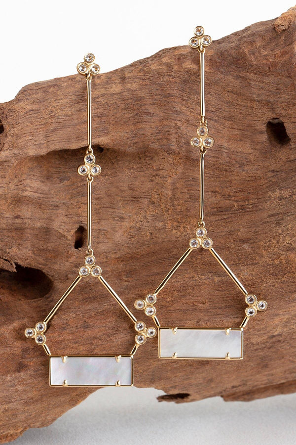 Tower - NAiiA 14K solid gold bezeled topaz and mother of pearl chandelier earrings