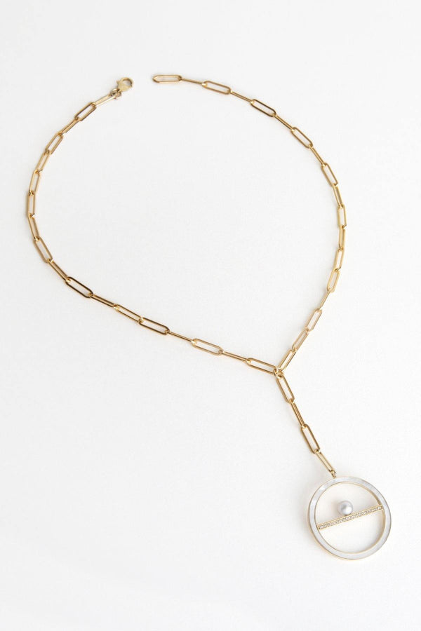 Trousdale 14K solid gold and mother of pearl medallion