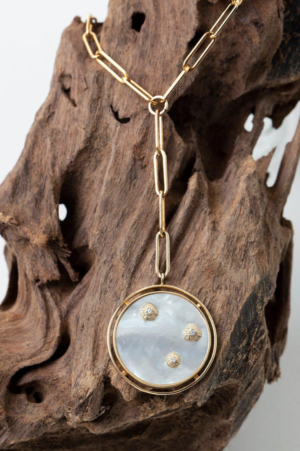 Trousdale - NAiiA - 14K solid gold and mother of pearl medallion with three gold bezeled diamonds on a 14K gold-filled clip chain