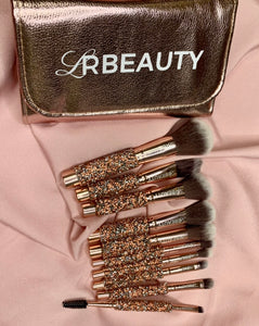 The Flirty 30 Collection Luxury Rose Golden Glitter Handle 10pcs Makeup Brush Set