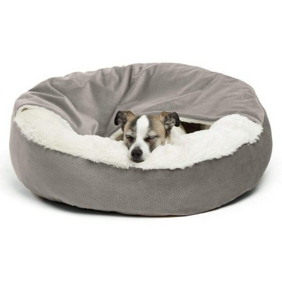 Ilan Cozy Cuddler Covered Cat & Dog Bed-Grey - Pets 5th Avenue