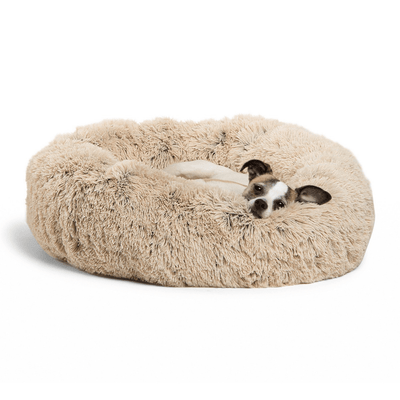 The Original Calming Shag Donut Cuddler™ Pet Bed - Taupe - Pets 5th Avenue