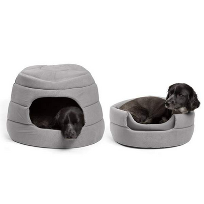 Ilan 2-in-1 Honeycomb Hut Covered/Bolster Cat & Dog Bed-Grey - Pets 5th Avenue