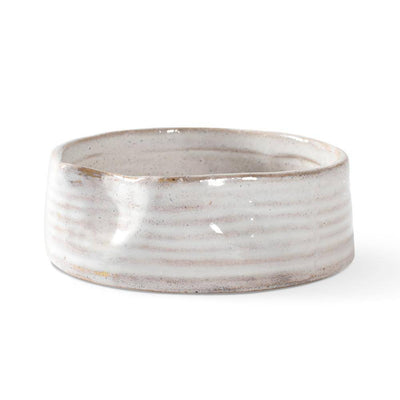 Ribbed White Pinched Pet Bowl - Pets 5th Avenue
