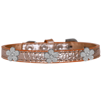 Silver Flower Widget Croc Dog Collar - Pets 5th Avenue