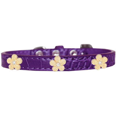 Gold Flower Widget Croc Dog Collar - Pets 5th Avenue