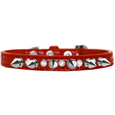 Silver Spike and Clear Jewel Croc Dog Collar - Pets 5th Avenue