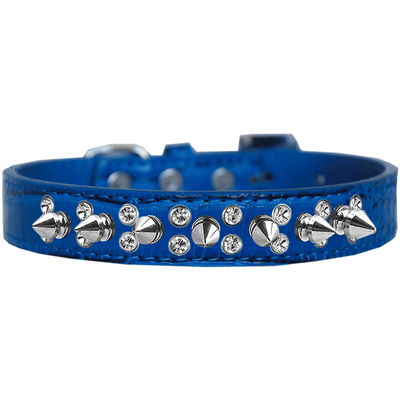 Double Crystal and Spike Croc Dog Collar Size - Pets 5th Avenue