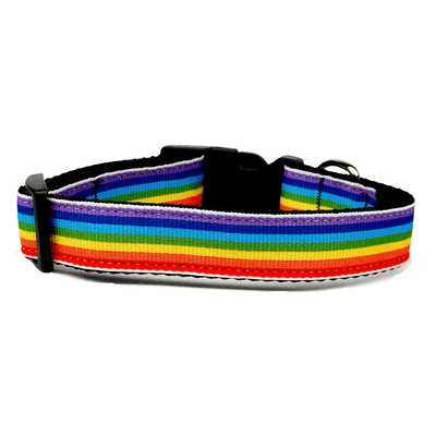Rainbow Striped Nylon Dog Collar - Pets 5th Avenue