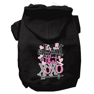 All About That XOXO Dog Hoodie- Black - Pets 5th Avenue