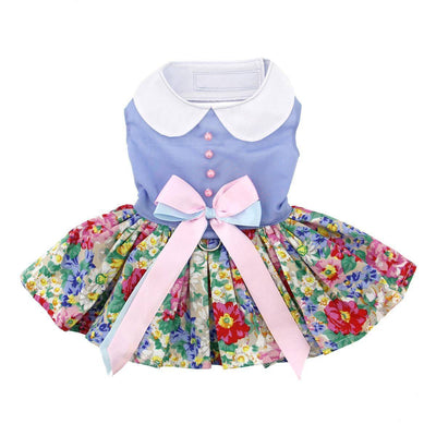 Blue and White Pastel Pearls Floral Dress with Matching Leash - Pets 5th Avenue