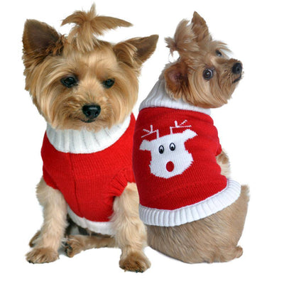Combed Cotton Red Rudolph Holiday Dog Sweater - Pets 5th Avenue