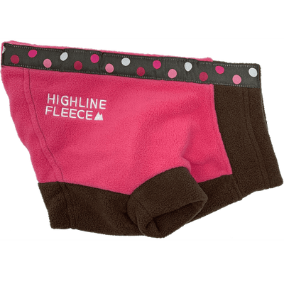 Highline Fleece Dog Coat - Pink and Brown with Polka Dots - Pets 5th Avenue