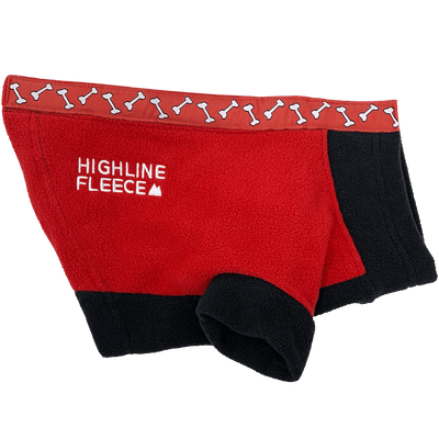 Highline Fleece Dog Coat - Red and Black with Rolling Bones - Pets 5th Avenue