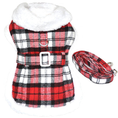 Plaid Fur-Trimmed Dog Harness Coat - Red and White - Pets 5th Avenue