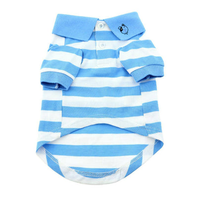 Striped Dog Polo - Blue Niagara and White - Pets 5th Avenue
