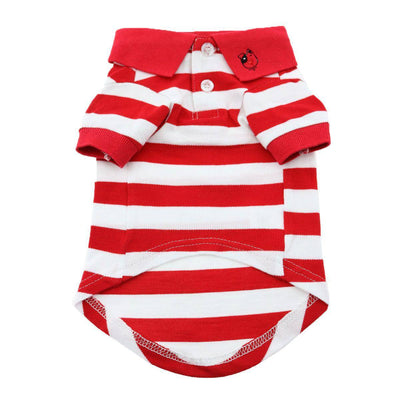 Striped Dog Polo - Flame Scarlet Red and White - Pets 5th Avenue