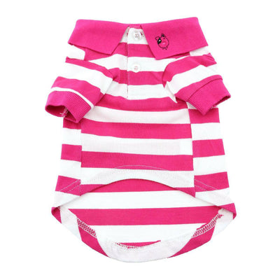 Striped Dog Polo - Pink Yarrow and White - Pets 5th Avenue