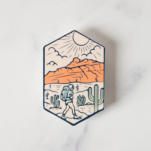 Red Mountain Hiking Vinyl Sticker Decal