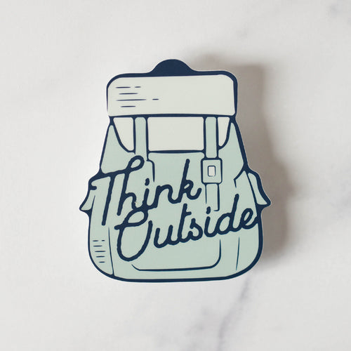 Think Outside Backpack Hiking Vinyl Decal Sticker