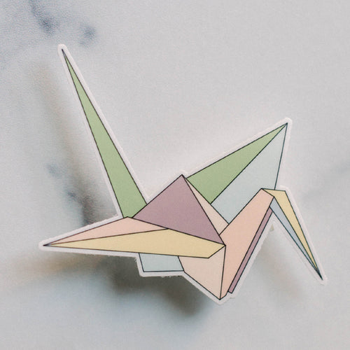 Paper Origami Crane Vinyl Sticker Decal