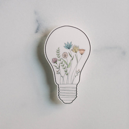 Bright Idea Floral Light Bulb Vinyl Sticker Decal